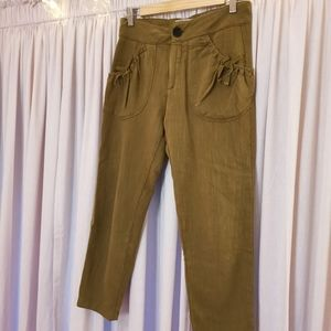 Zara olive cropped joggers with bowtie pockets